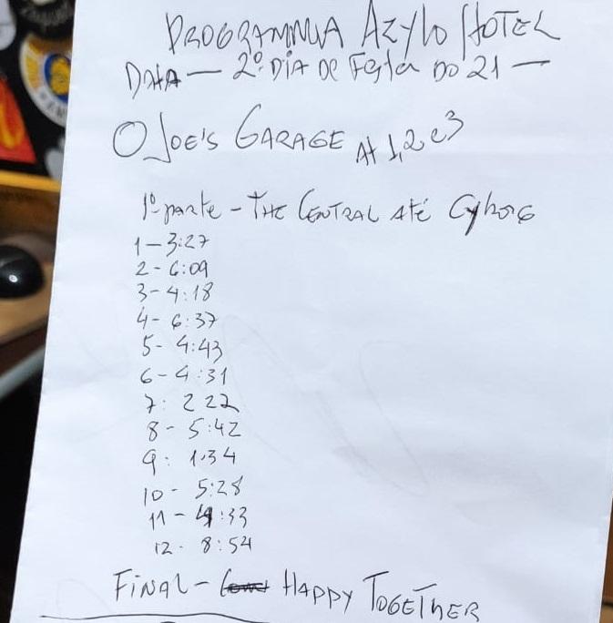 Set List Joes Garage parte 1_23-01-2021